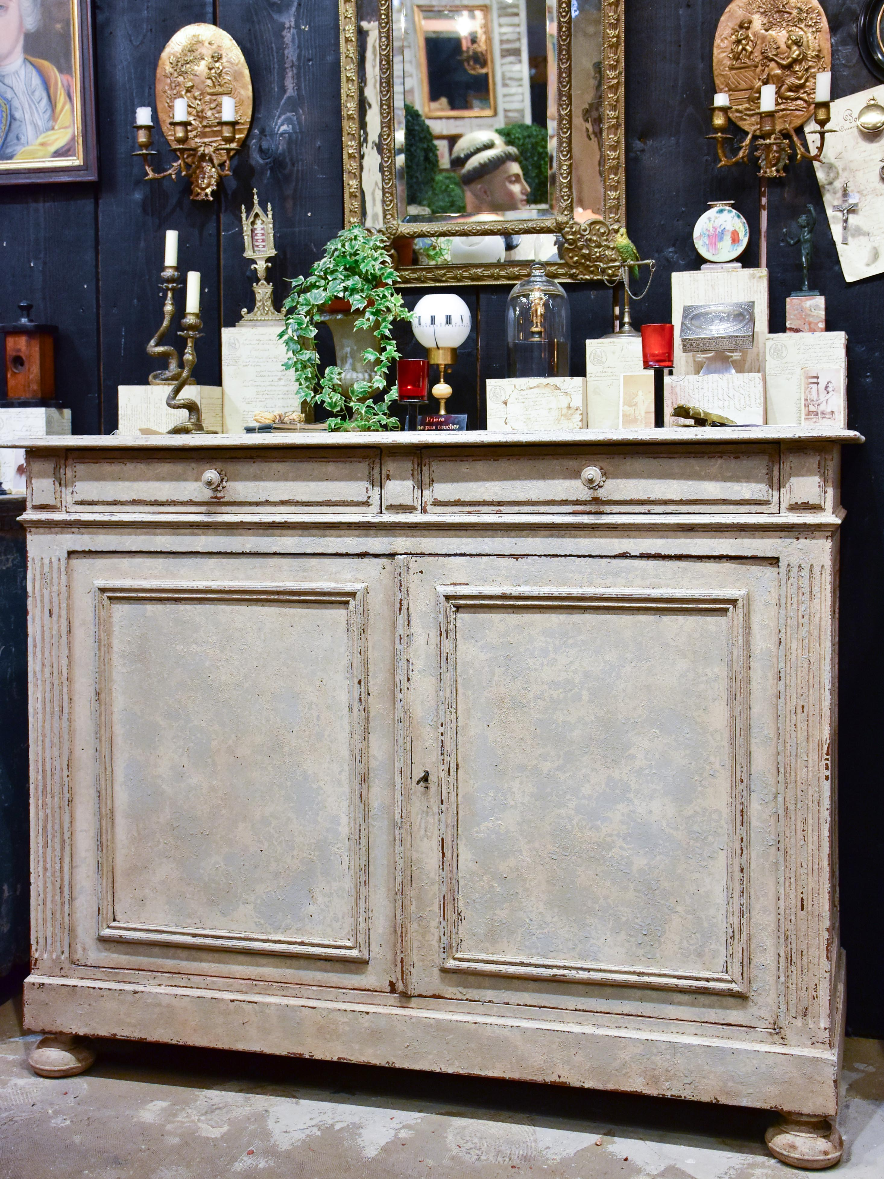 Antique French Louis XIV style buffet with beige / grey patina