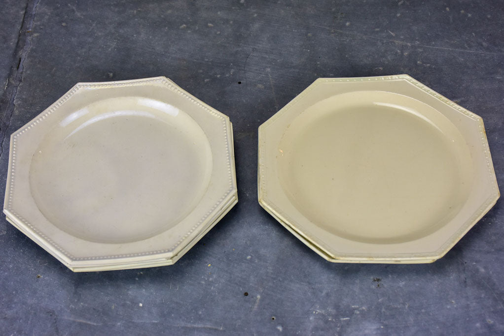 Set of six octangonal antique French plates - Creil-Montereau