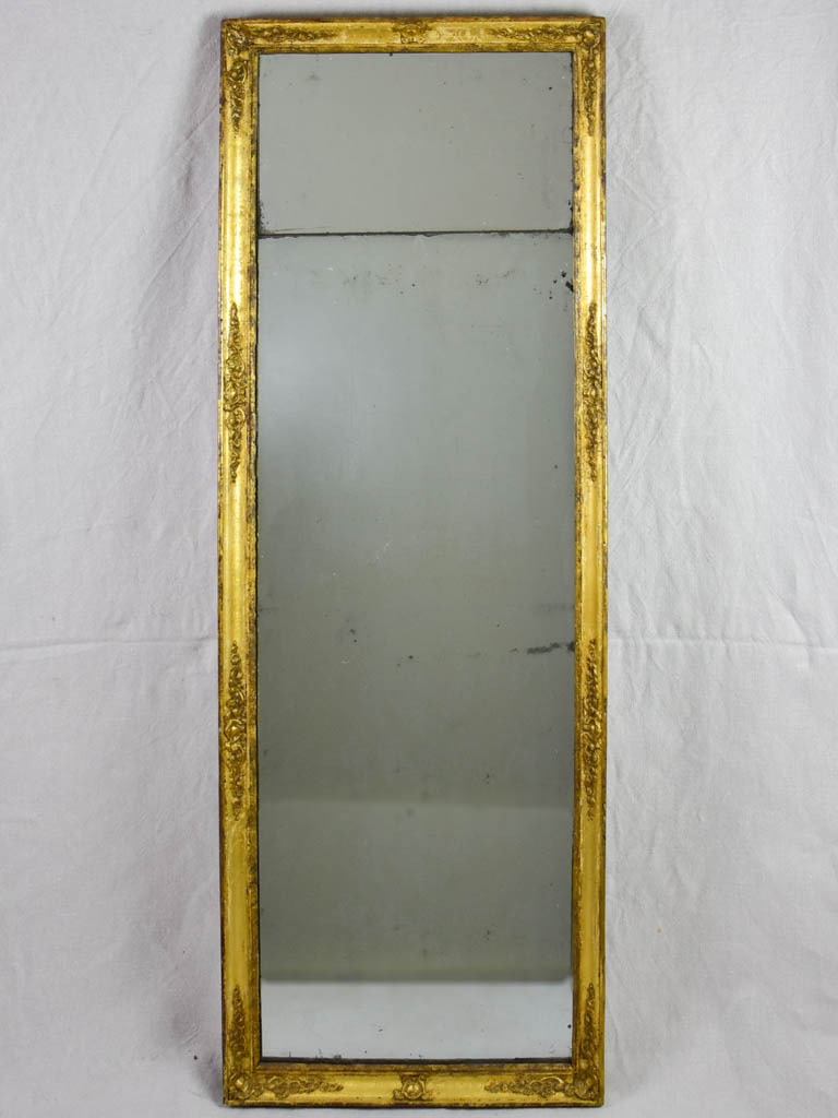 "Late 18th Century rectangular French mirror with two mirror panes 52¾"" x 18½"""