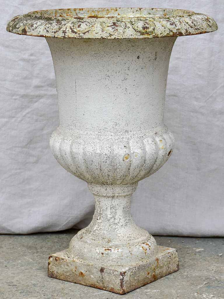 Pair of antique French cast iron Medici urns - white