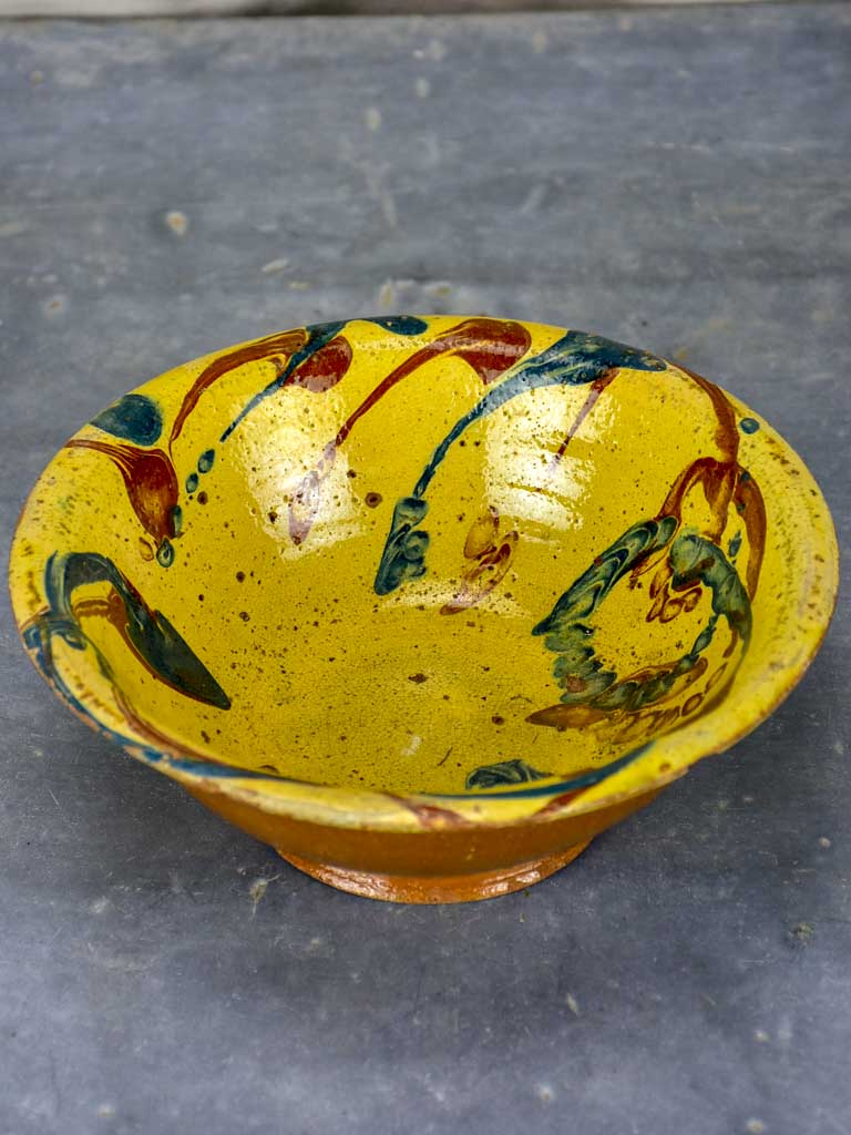Antique French clay bowl with glaze
