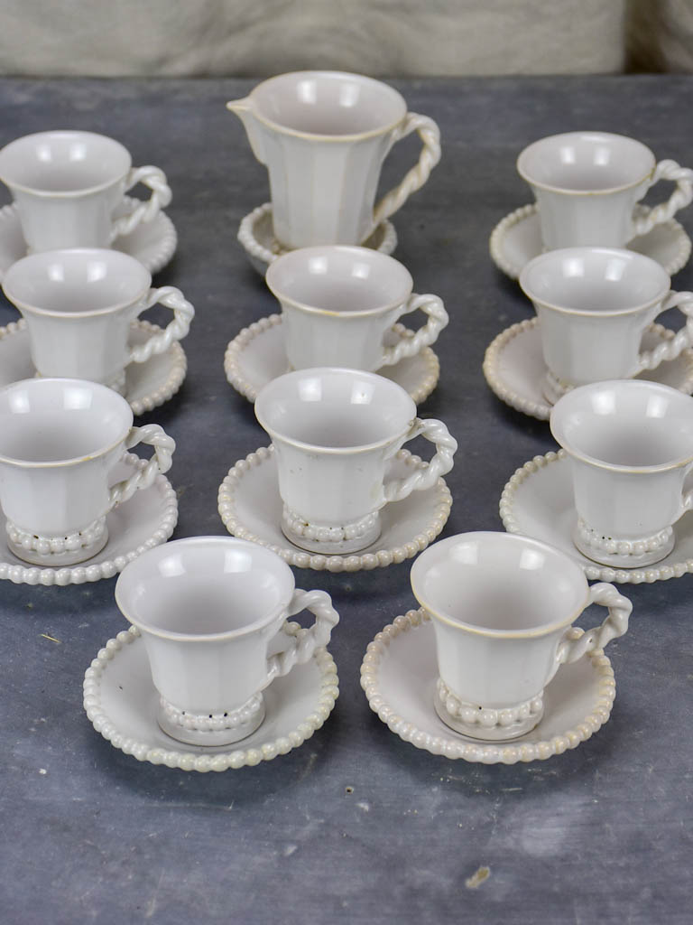 Set of vintage coffee cups and saucers Pont-aux-Choux