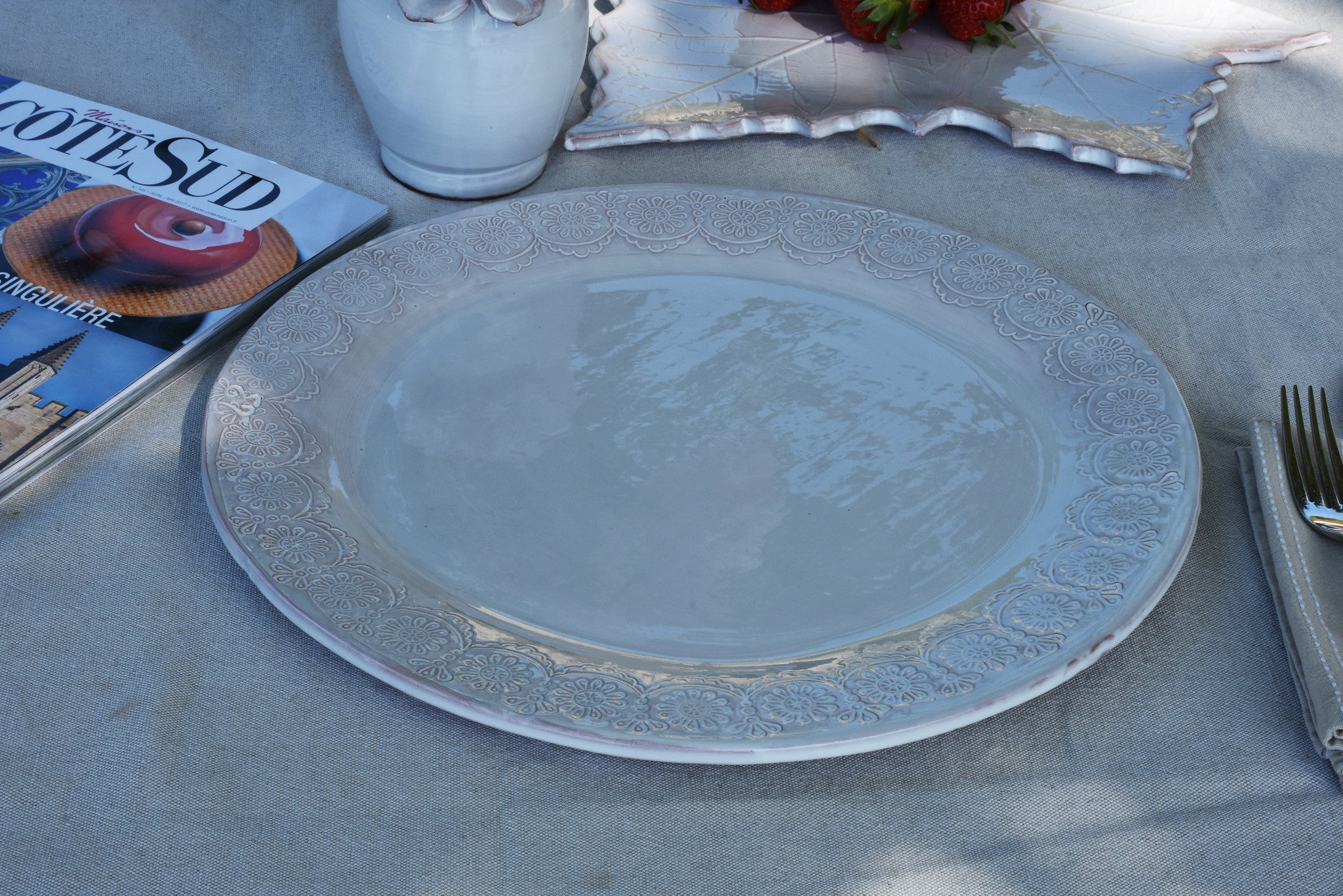 Large dish with pretty lace border