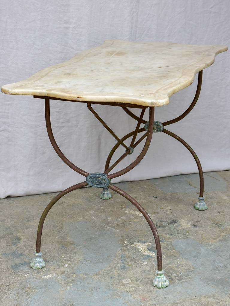 "Antique French rectangular garden table with pretty feet and curved marble top 44"" x 22½"""