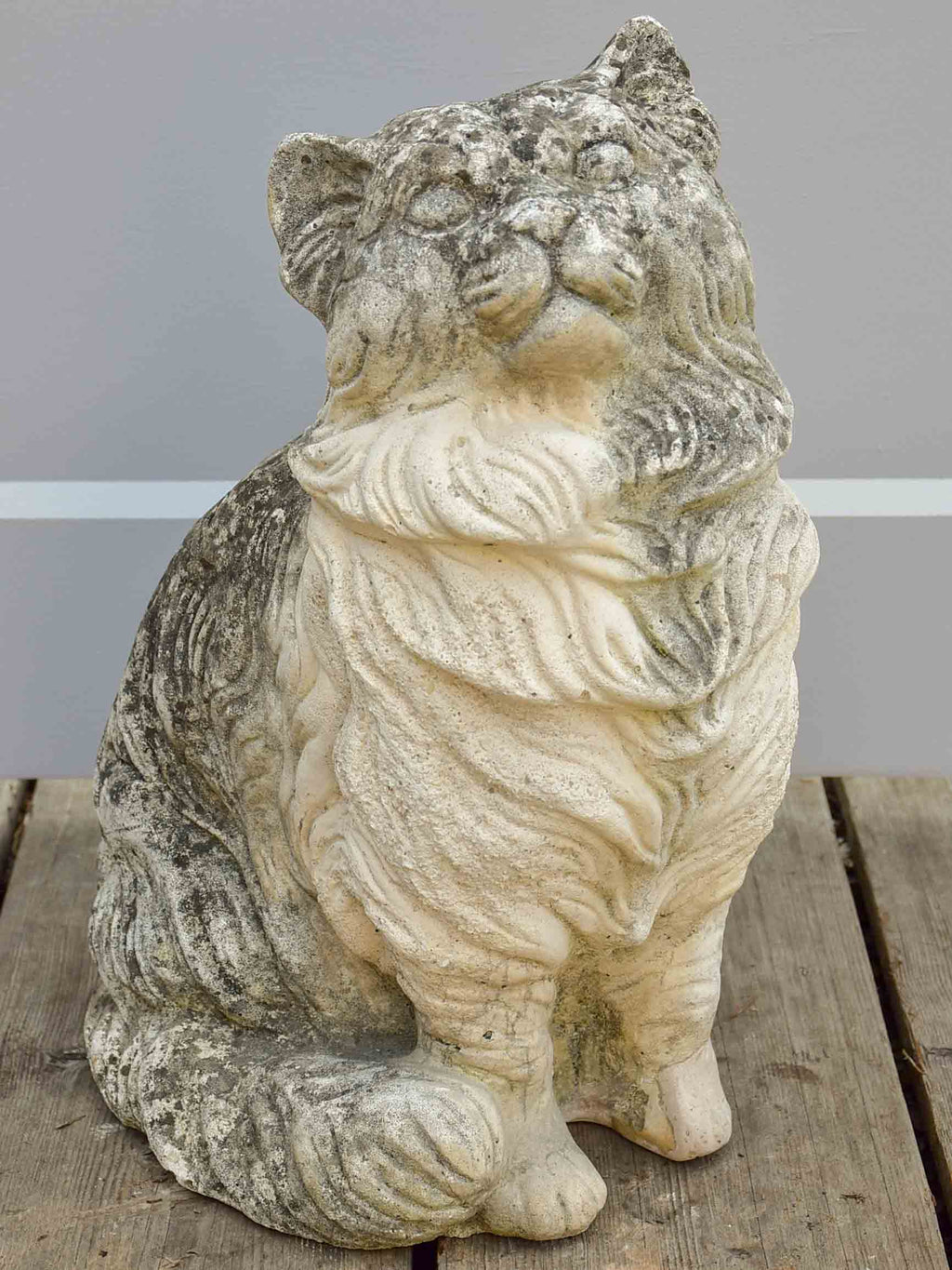Vintage French garden sculpture - cat