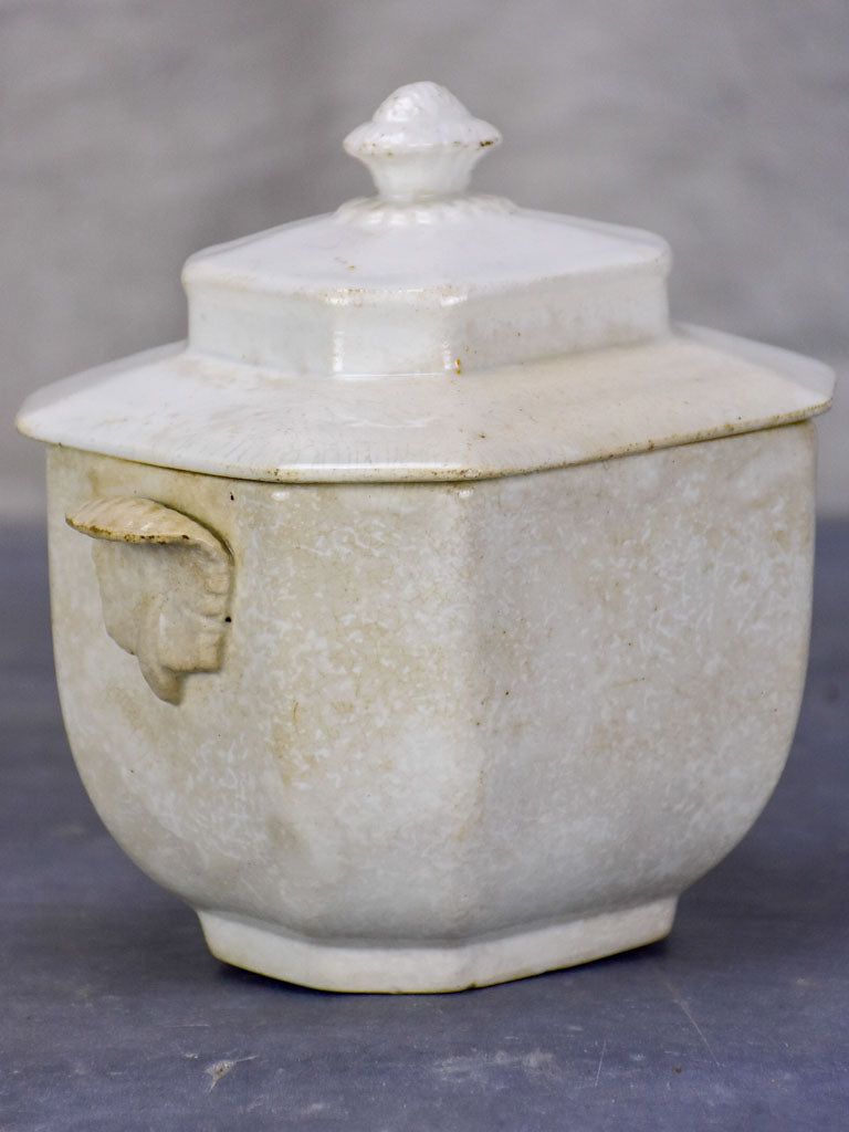 Late 19th Century Creil sugar bowl with lid - French