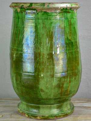 19th Century Anduze olive jar with green glaze 24¾""