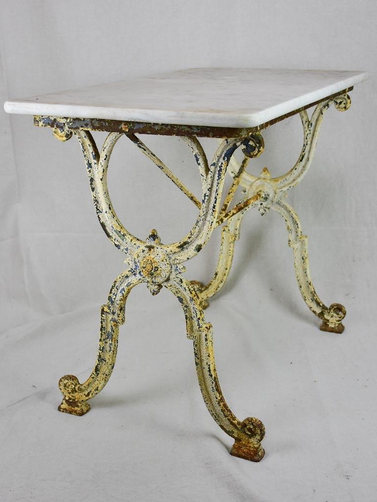 "Early 20th Century rectangular garden table with marble top and patinated cast iron base 19¾"" x 35½"""