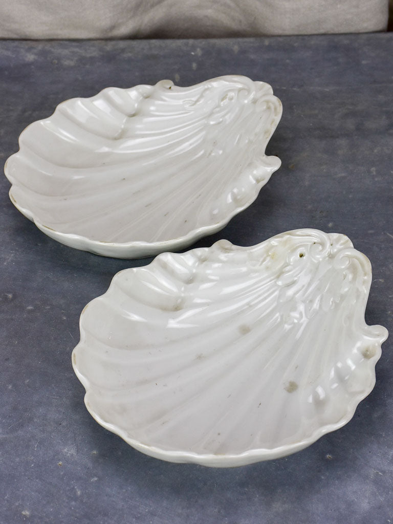 Pair of antique French shell plates