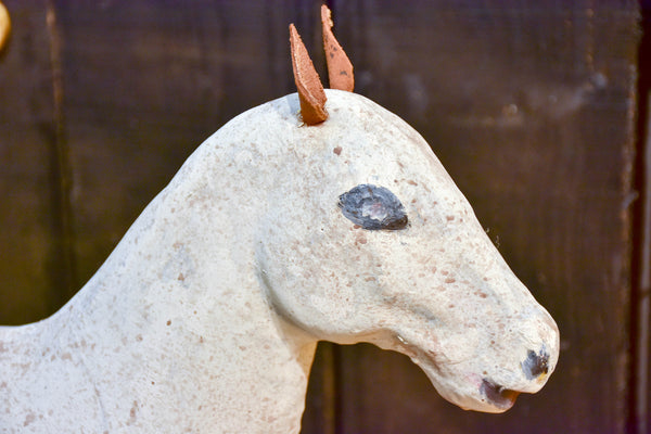 Antique French toy horse in paper mache