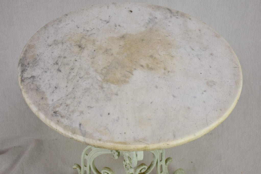 "Parisian marble garden table with marble top and cast iron base 21¾"" x 28¼"""