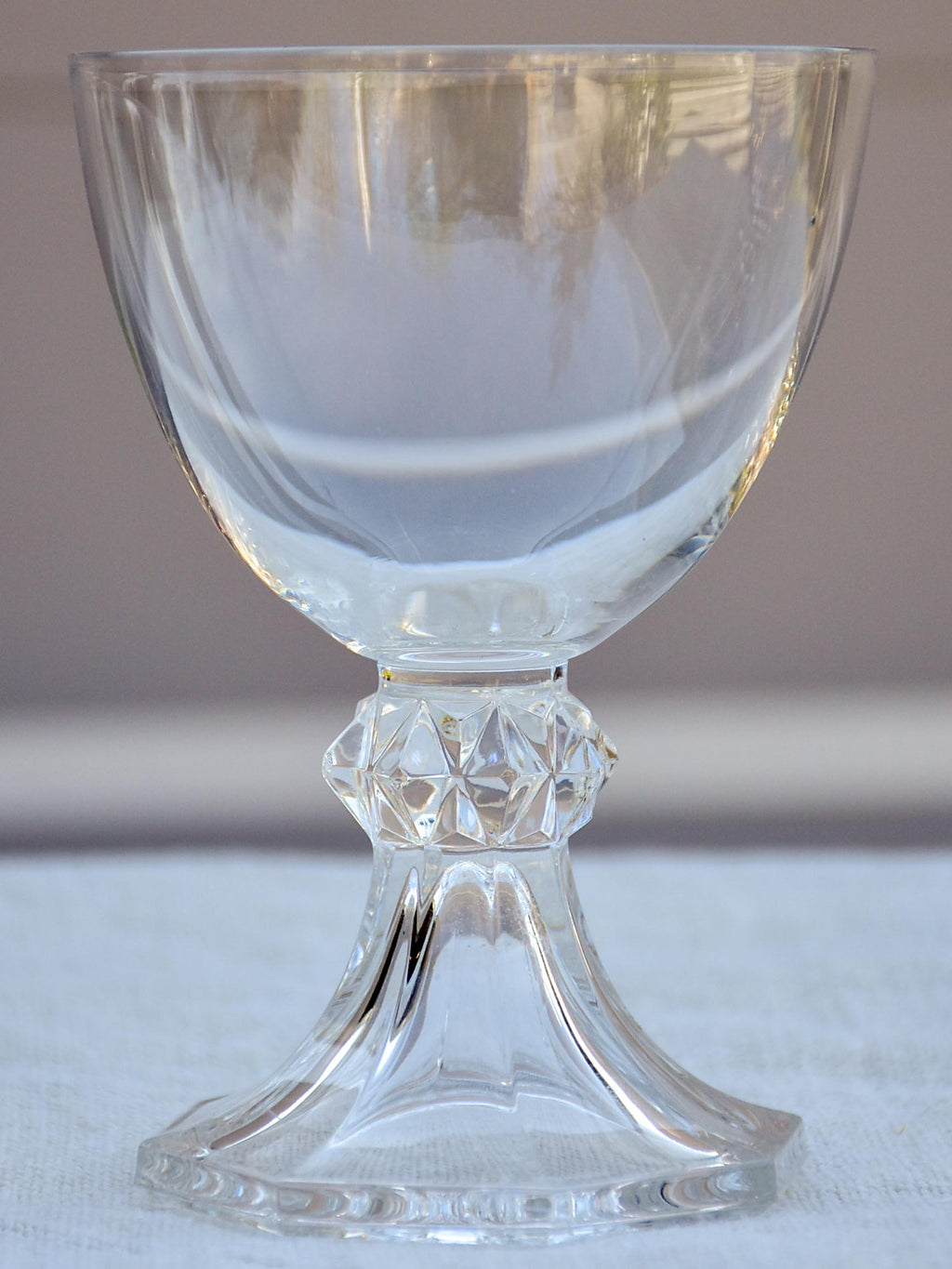 Six vintage crystal white wine glasses
