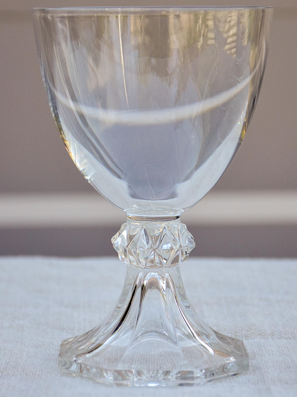 Six vintage crystal red wine glasses