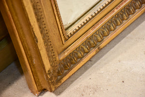 Antique French Napoleon III mirror with gilded frame and crest