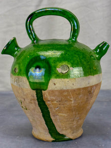 Antique French cruche with green glaze