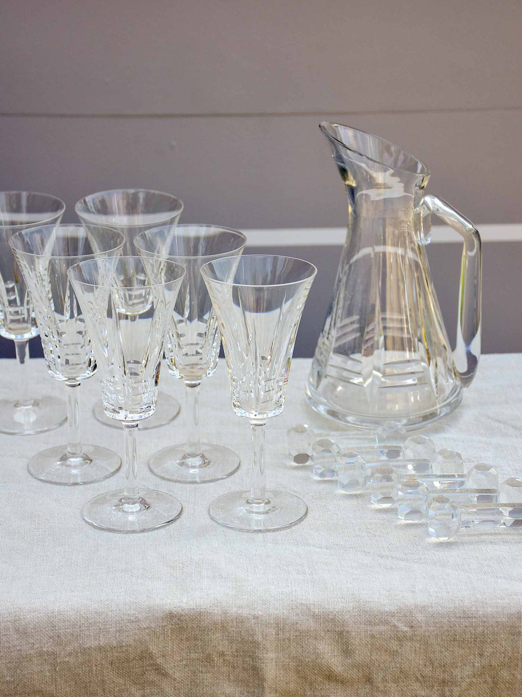 Vintage French crystal set of wine glasses, carafe and knife rests