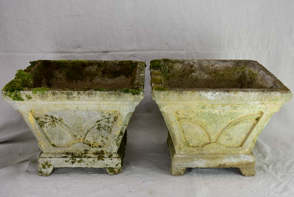 Pair of mid century cement square planters 16¼""