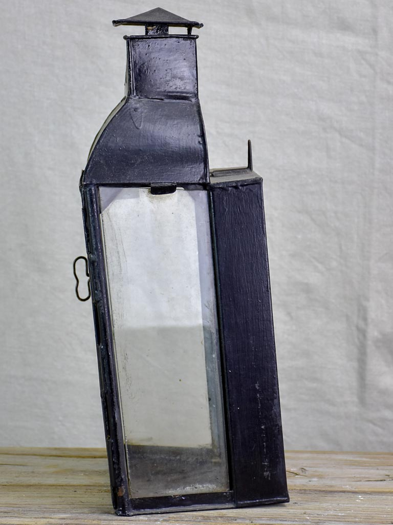 19th Century French wall lantern with black patina