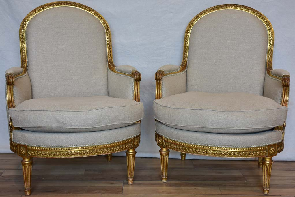 Fully restored pair of Napoleon III armchairs with giltwood frames