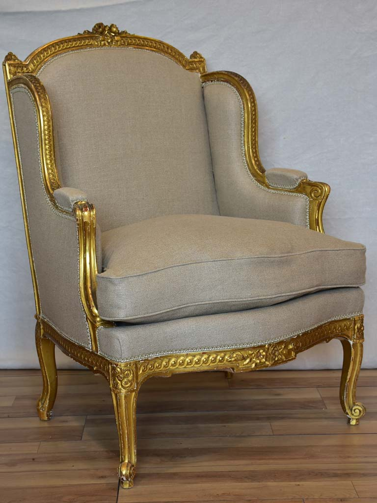 Fully restored Napoleon III wingback armchair with giltwood frame