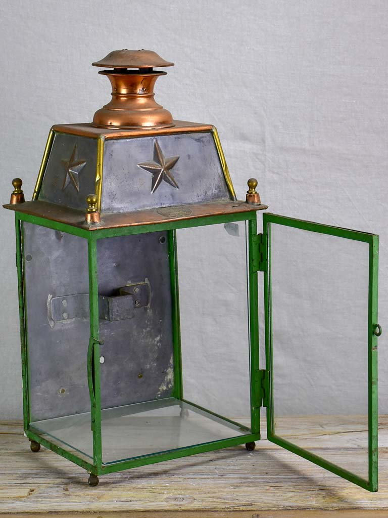 19th Century French wall lantern - copper and green frame 22½""