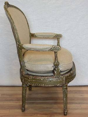 Fully Restored late 19th Century marquise armchair with dark green patina