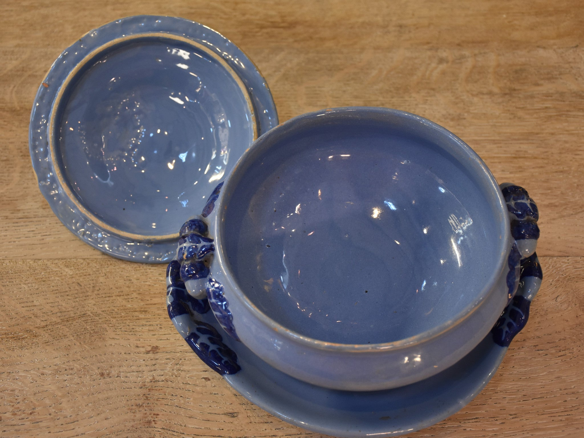 19th century Charolles blue soup tureen from Burgundy