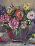 "K. Bourillon palette knife painting - bouquet of roses 24"" x 19 ¾''"