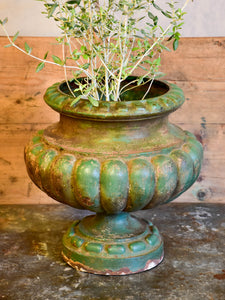 Antique French garden urn with green patina