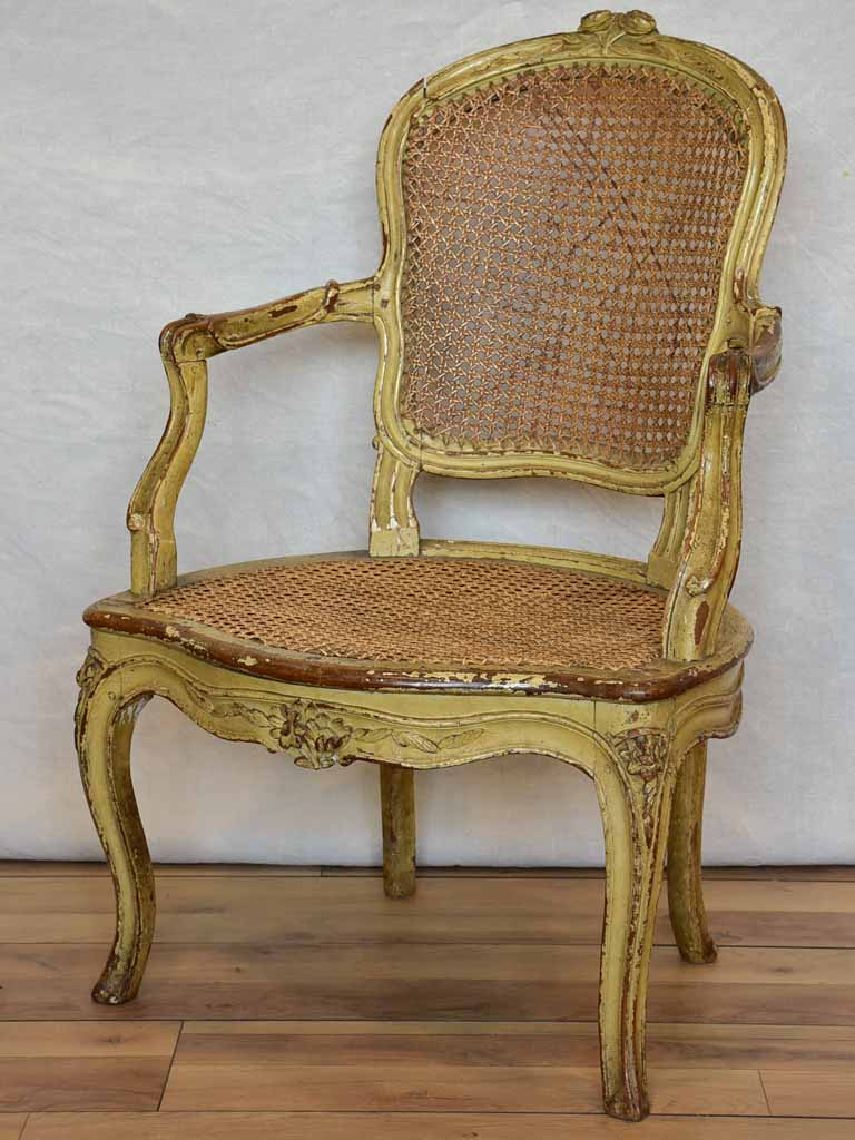 Original 18th Century French provincial armchair with rattan seat and original patina