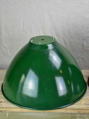 Pair of very large green enamel industrial lights
