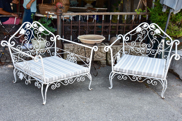 Pair of extra-large garden armchairs