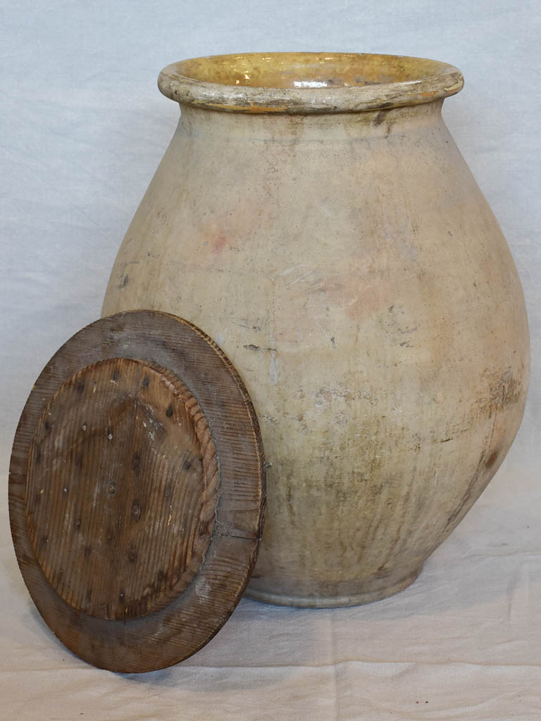 Late 19th Century French olive jar with wooden lid 24¾""