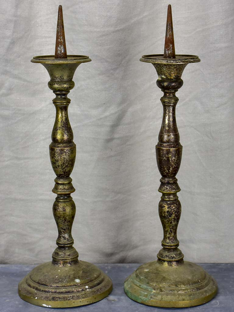 Pair of large antique French candlesticks