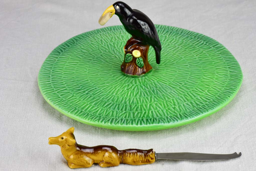The Fox and the Crow (Le Corbeau et le Renard) cheese platter and knife 11½""