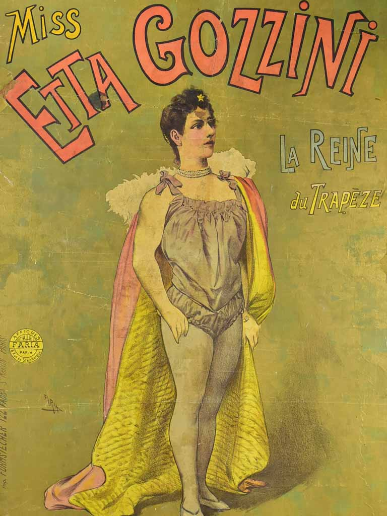 Antique French circus advertising poster