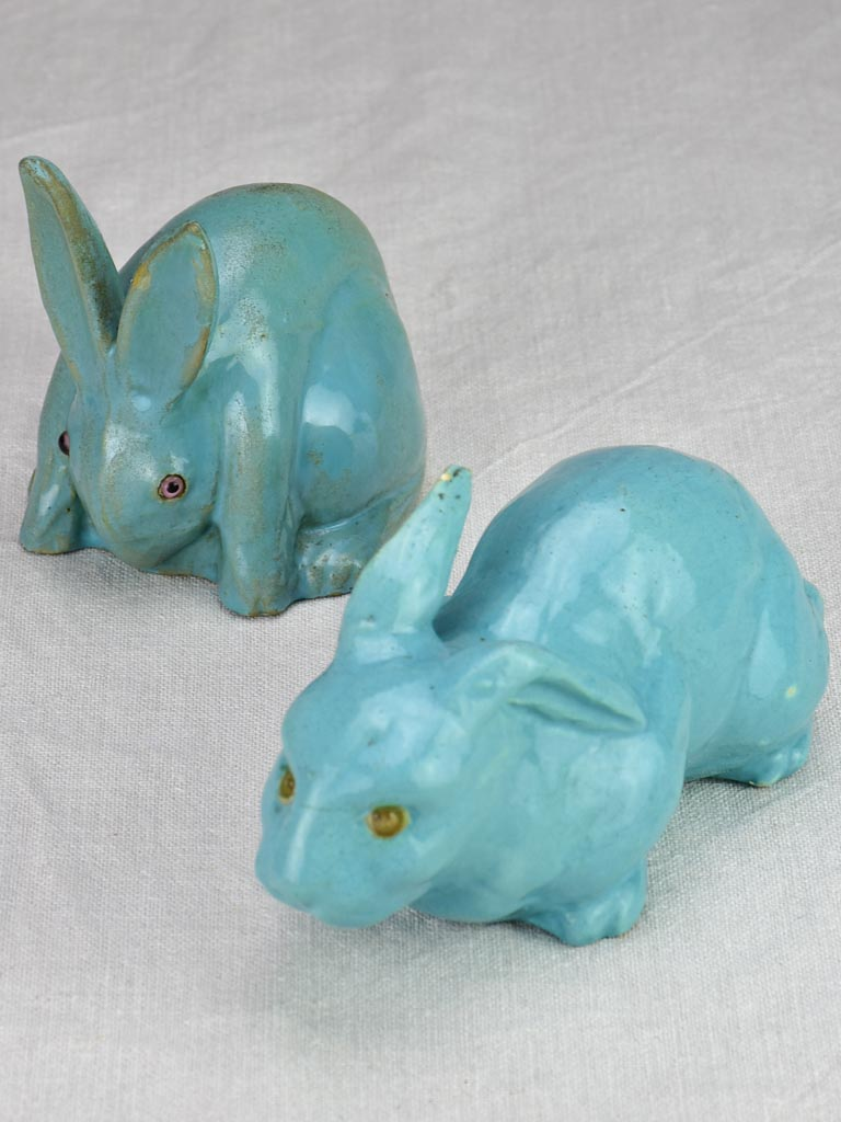 Two Art Deco bunnies, blue earthenware