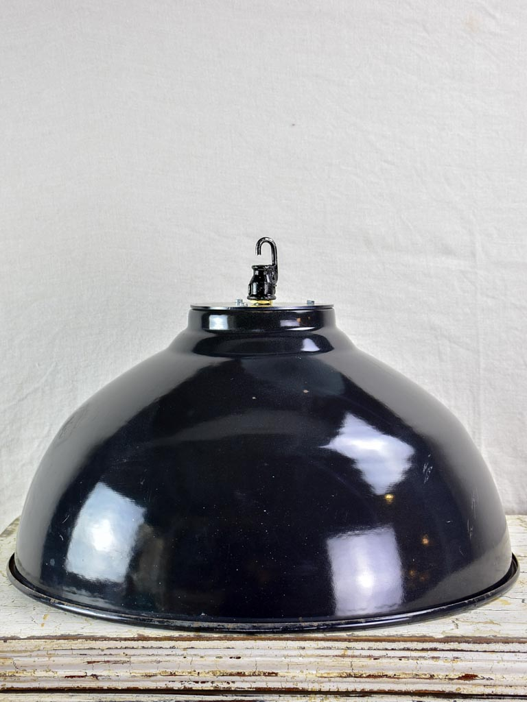 Pair of very large industrial enamel lights - black and white (2 pairs available)