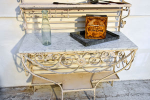 Vintage French butcher's display table with shelving