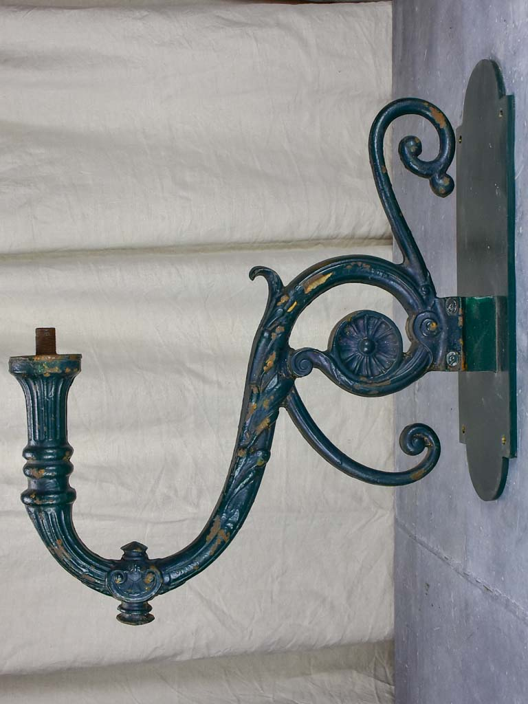 Pair of antique French outdoor wall sconces - cast iron