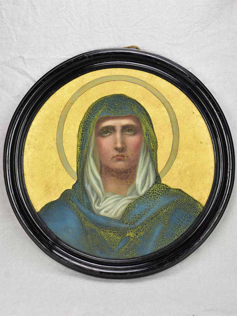 Round Napoleon III religious portrait of the Virgin Mary 19th Century 23¼""