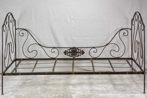 "Antique French wrought iron folding bed 75½"" x  33½"""