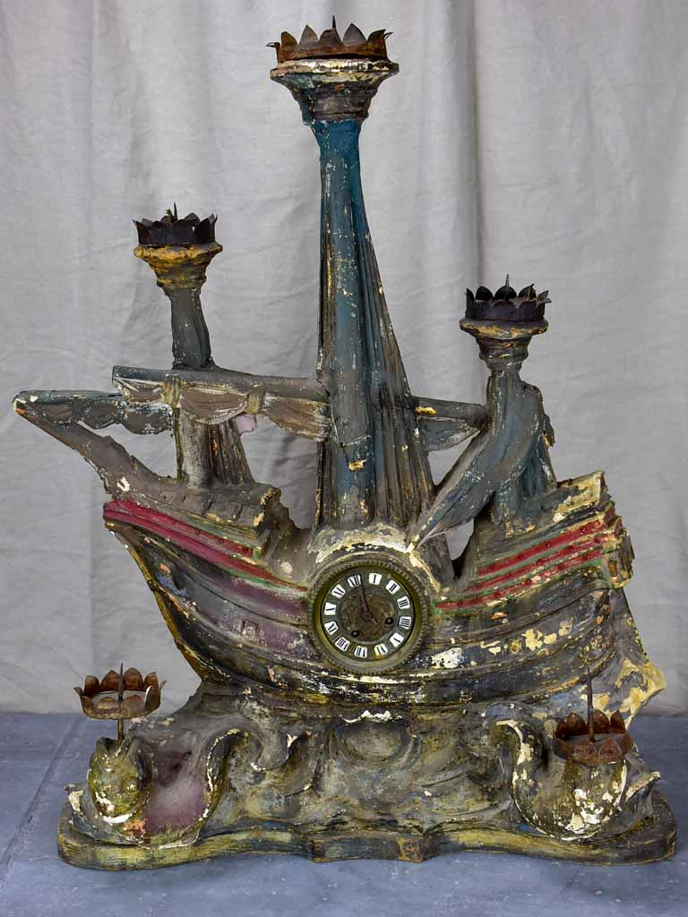 Large French maritime ex voto with candles