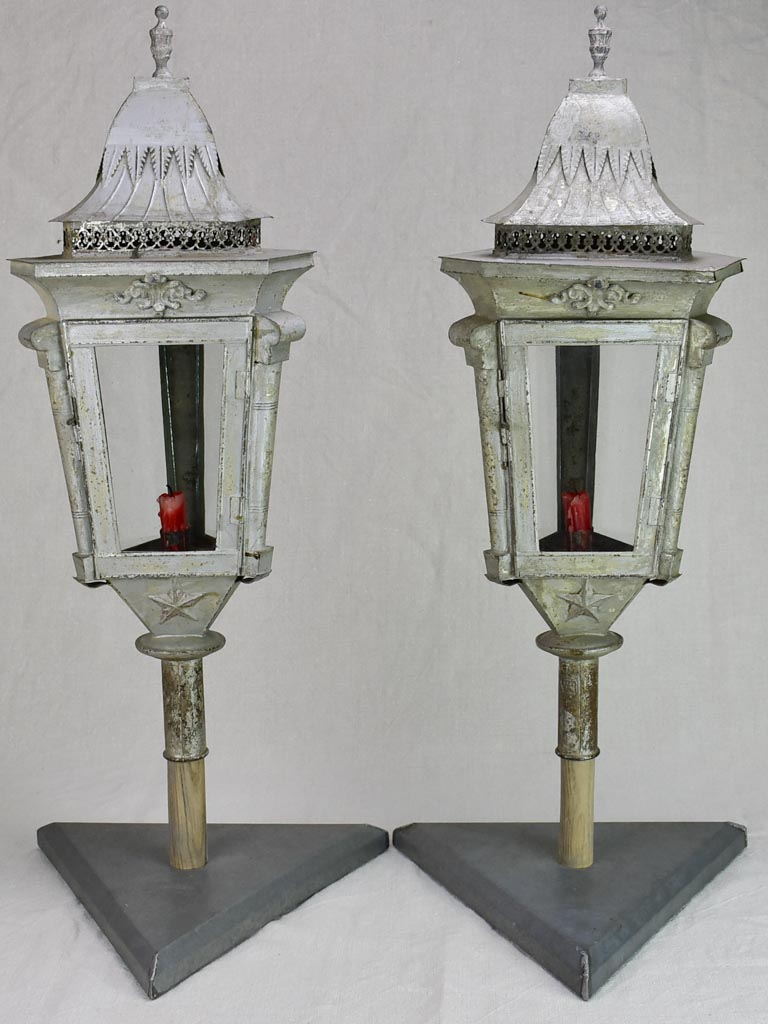 Pair of triangular zinc lanterns from the late 19th century 30¼""