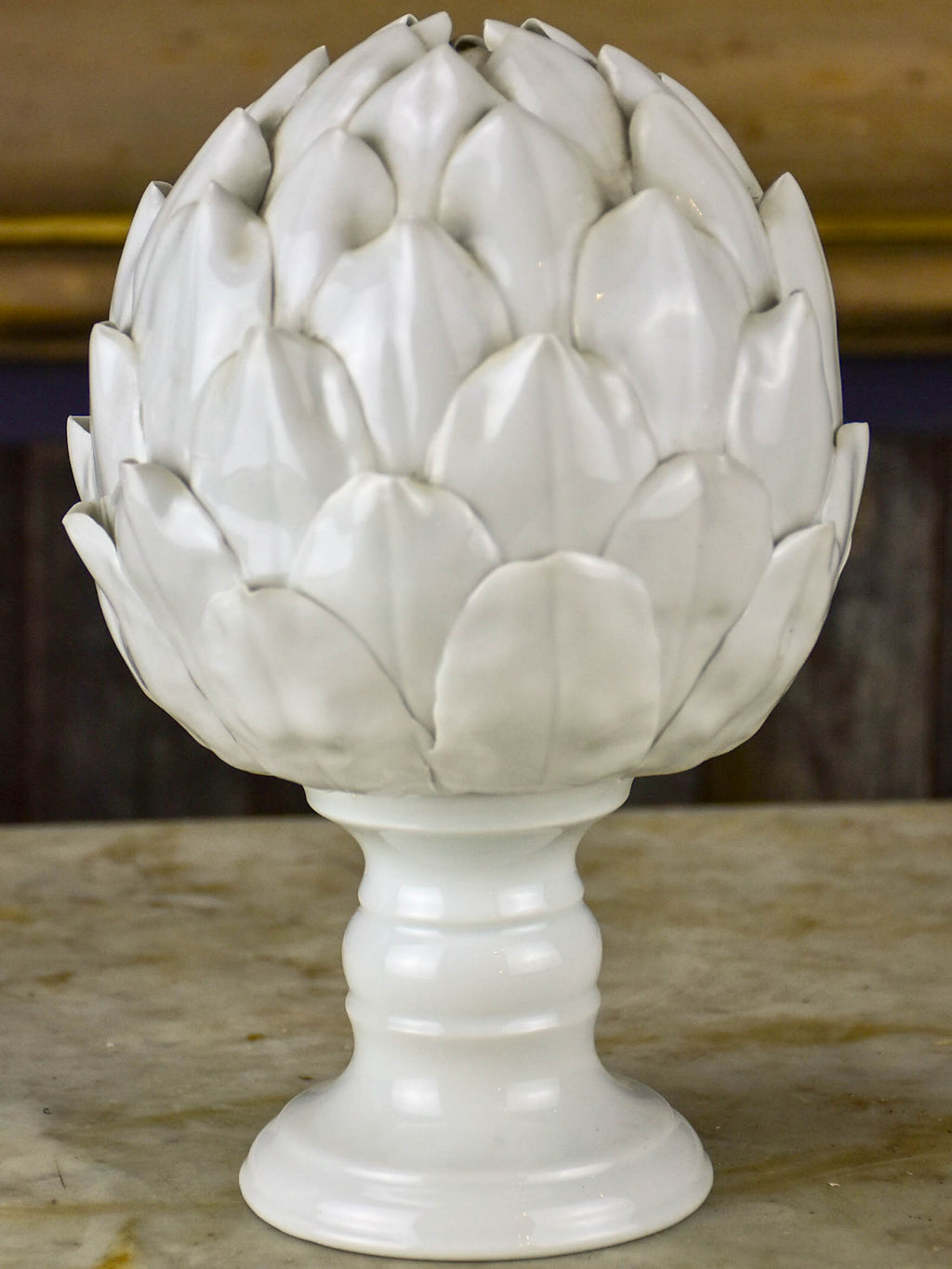 Antique earthenware artichoke sculpture