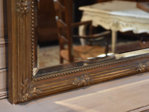 Antique French mirror – rectangular with gilded flower frame