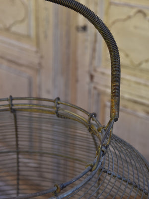 Very large antique wire basket for collecting escargots