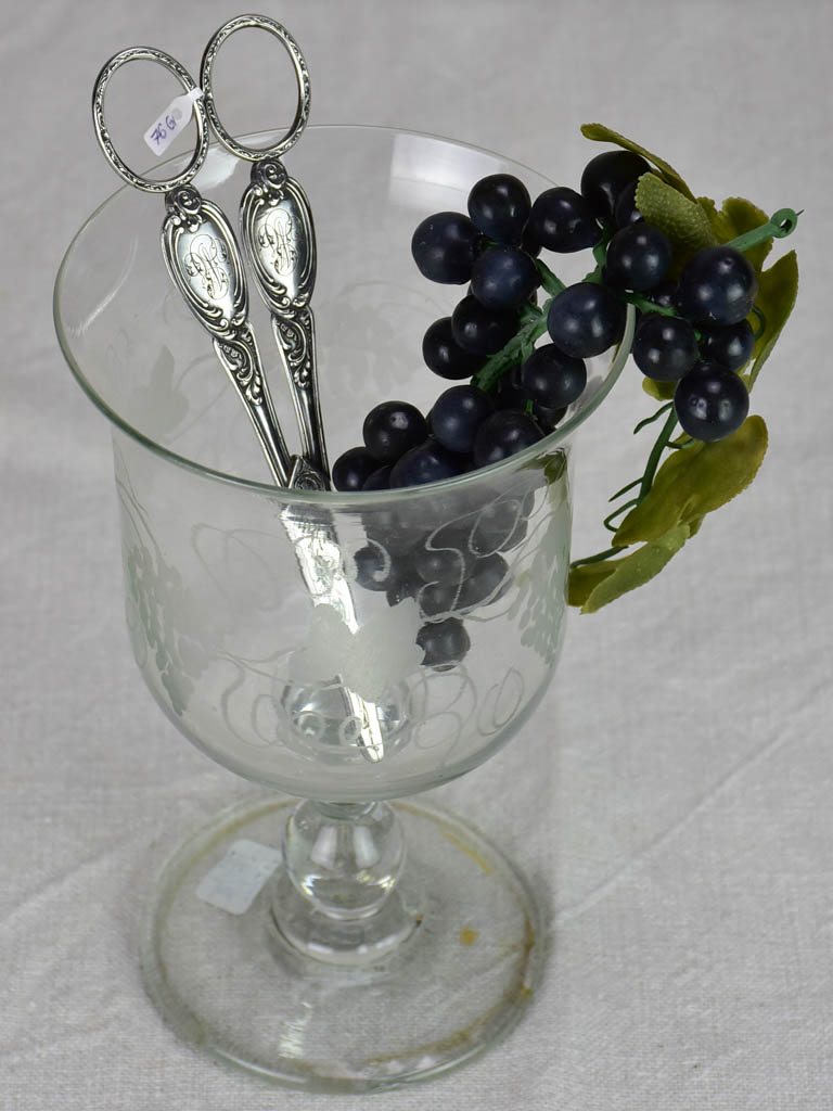 19th Century French grape scissors with monogram silver