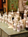 Set of 17 antique French opaline apothecary flasks