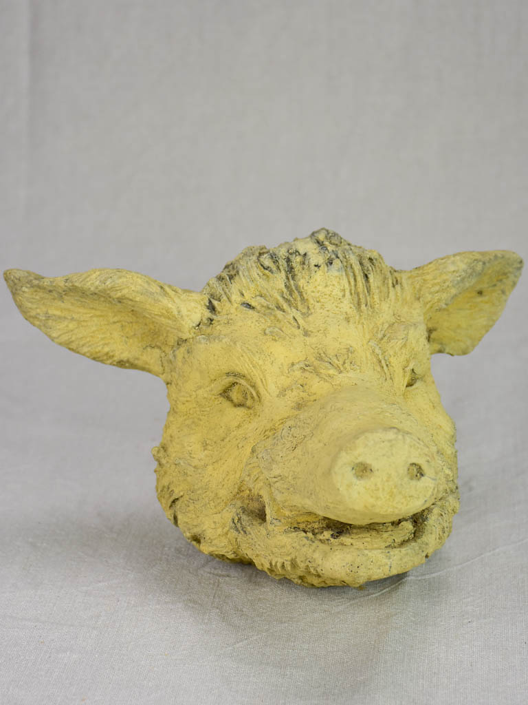 Mid century clay sculpture of a wild boar